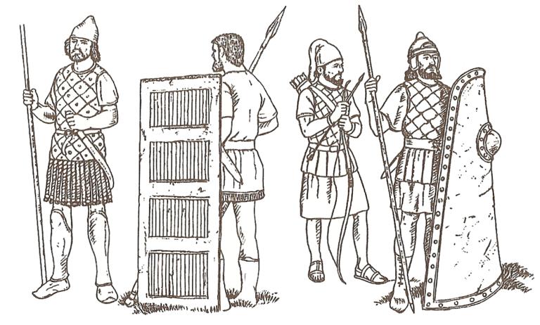 Воины персидской армии: халдейские пехотинцы, вавилонский лучник, ассирийский пехотинец