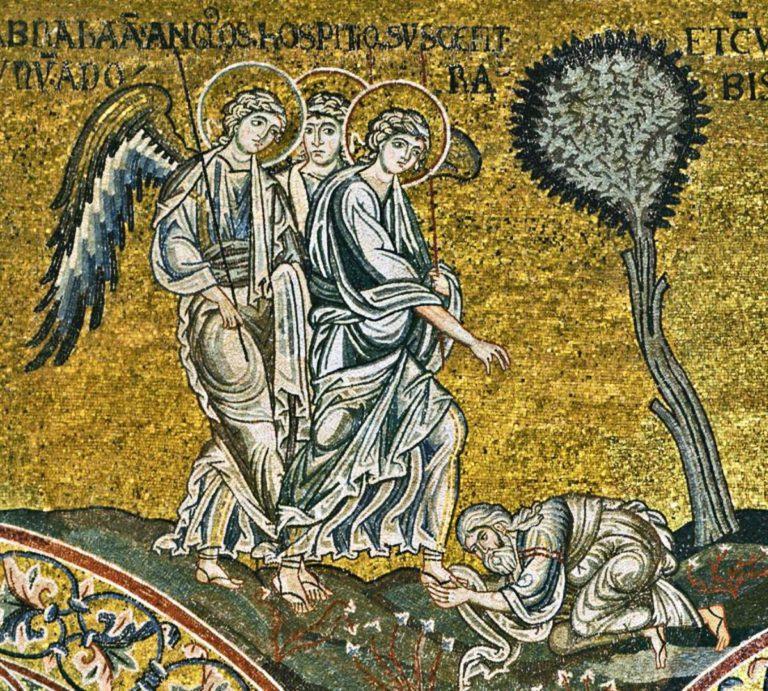 Явление трех ангелов Аврааму. 1183-1189 гг.