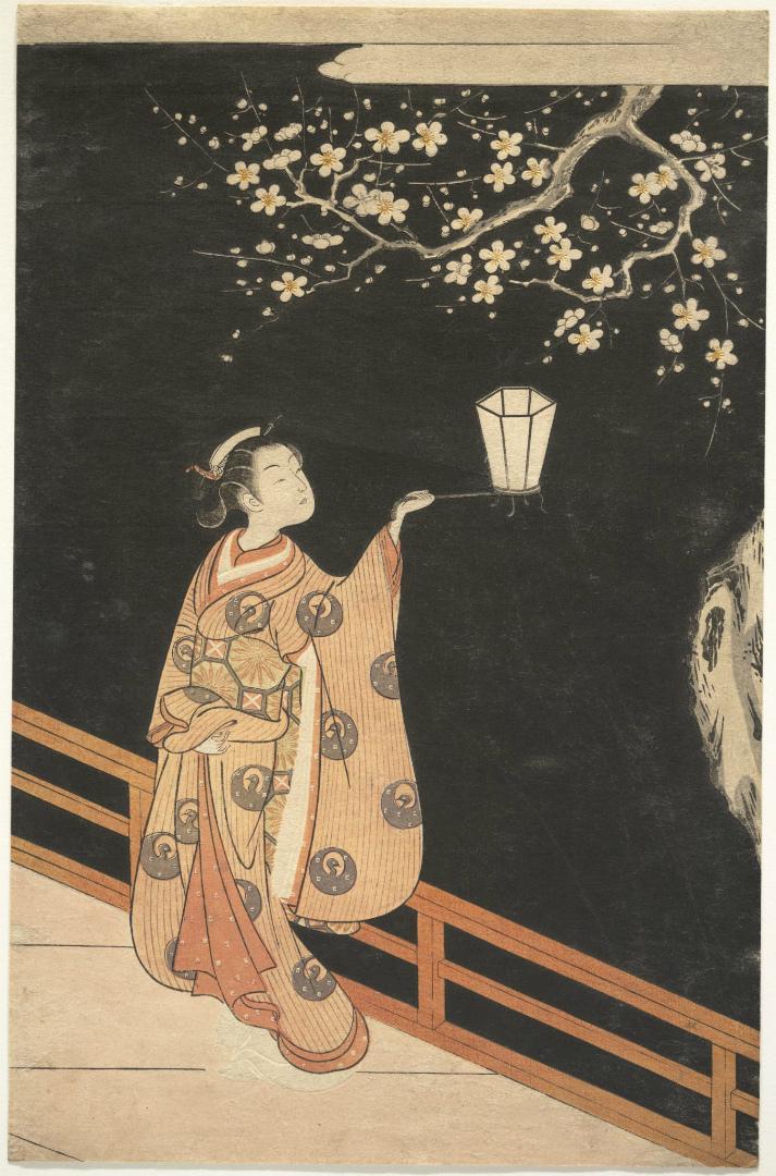Женщина, восхищающаяся цветами сливы ночью. Япония, XVIII в.