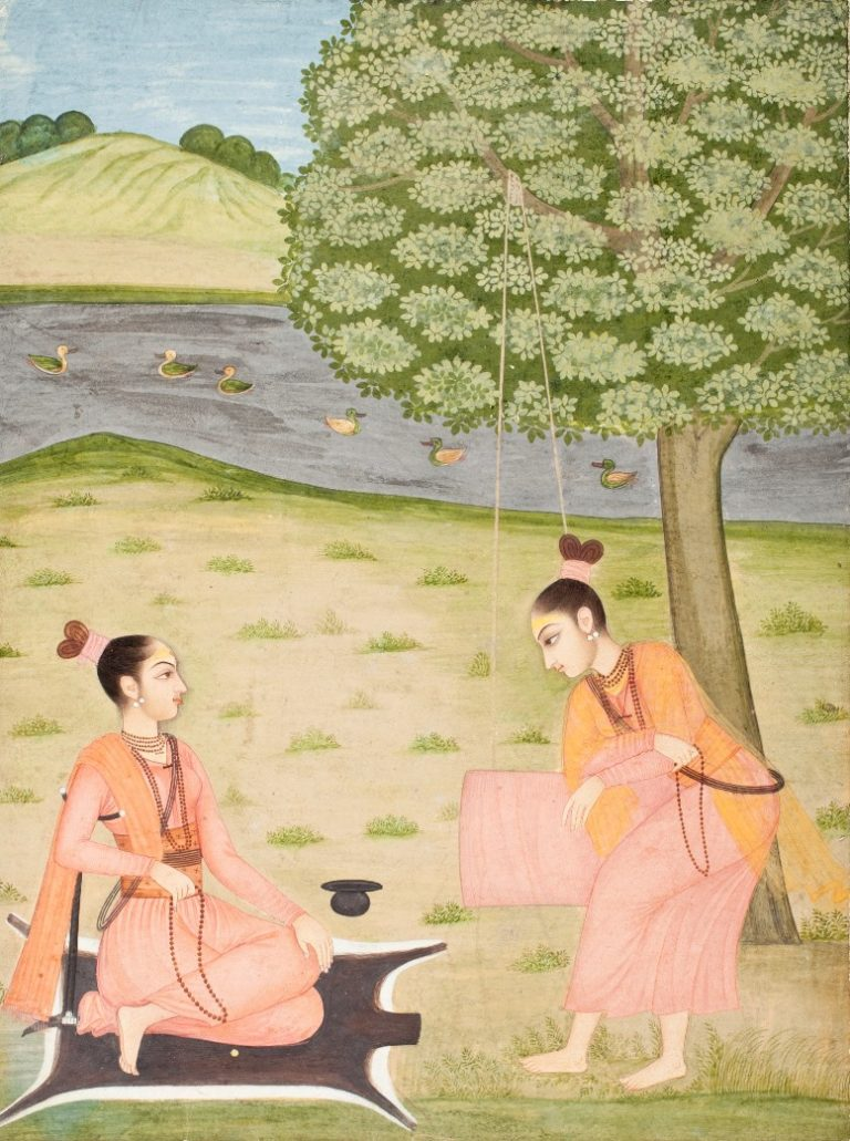 Женщины, занимающиеся йогой в саду. Индия, 1730–1740