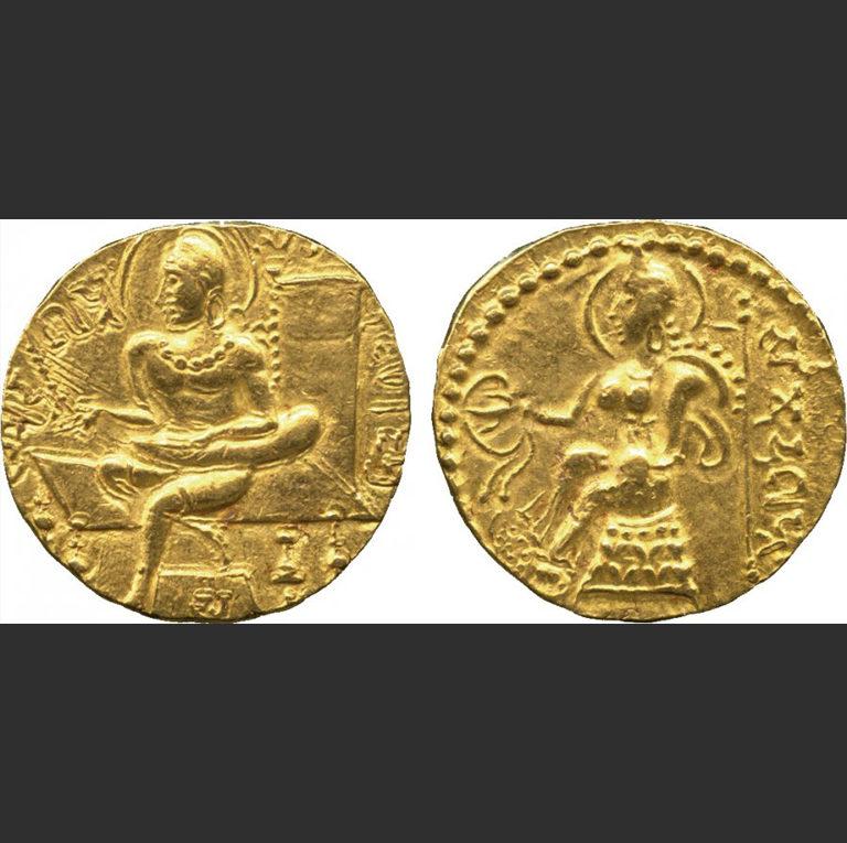 Золотой динар Самудрагупты (335—380 гг. н.э.)