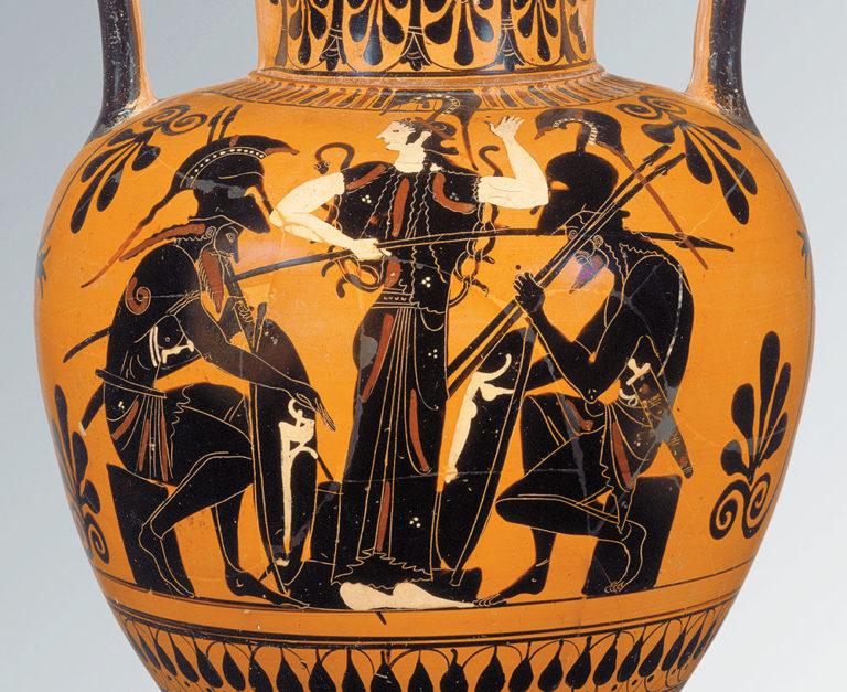 Ахилл (слева), Афина (в центре), Аякс (справа). VI в. до н.э.