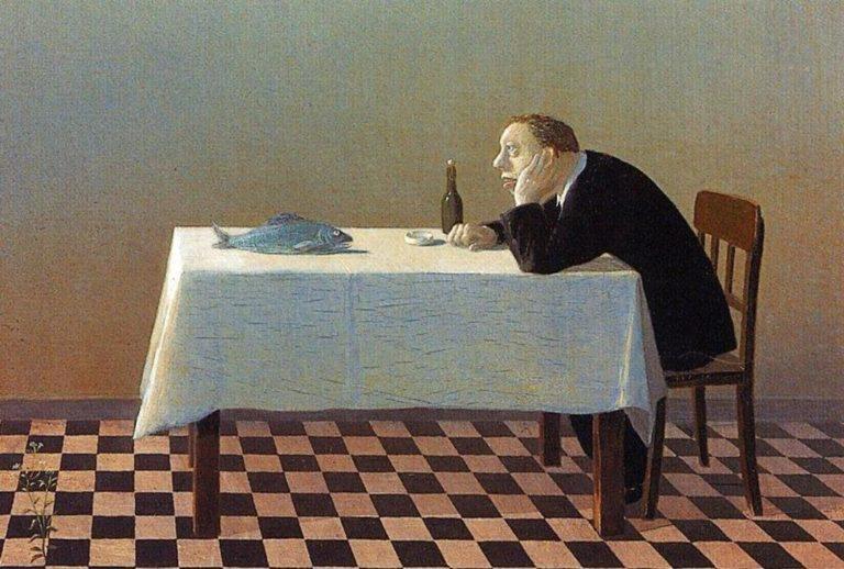 Человек, стол, рыба