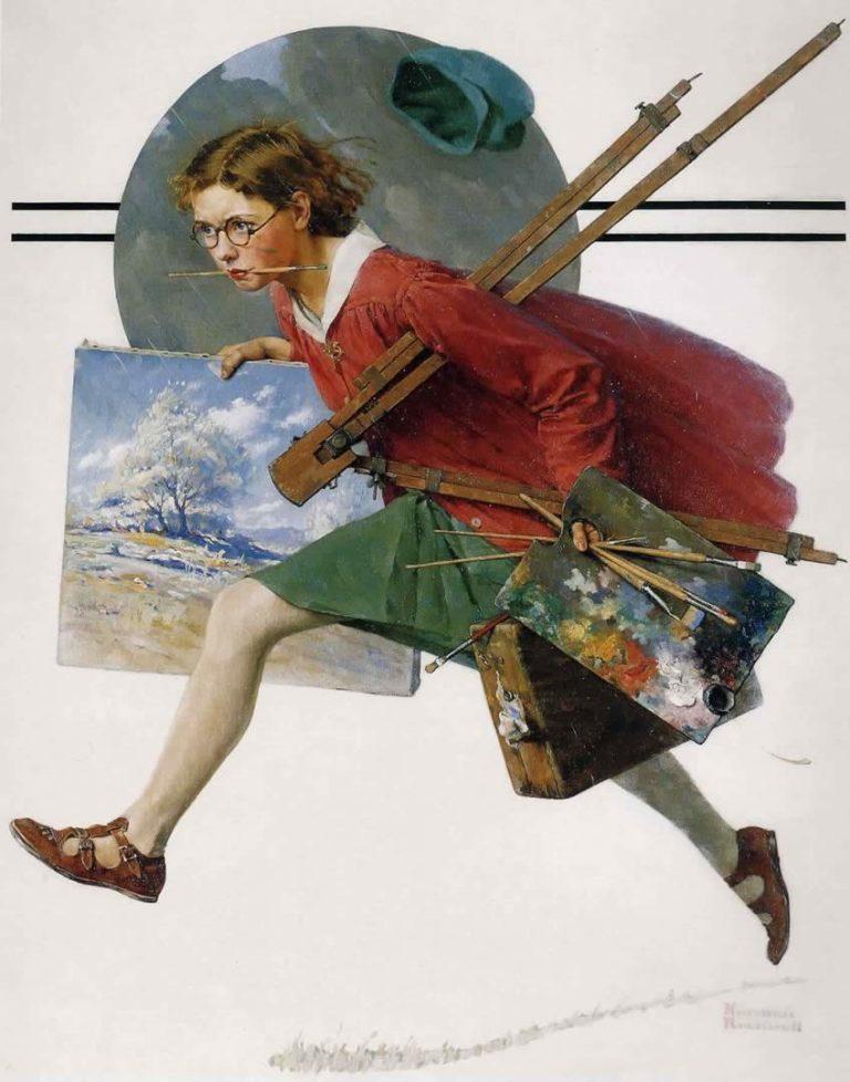 Девушка, бегущая под дождем с холстом. 1930