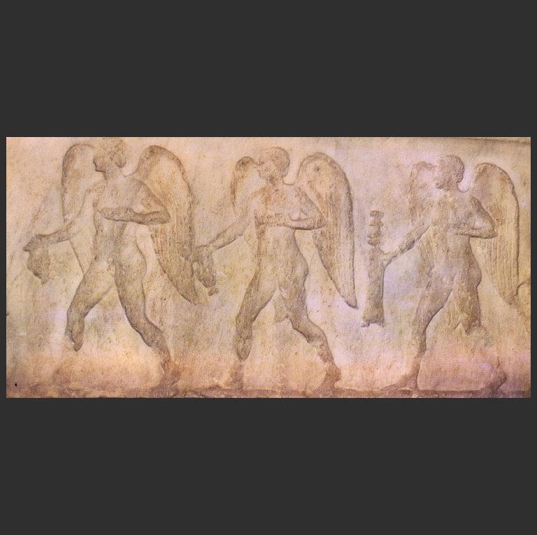 Эроты с фимиамом, ойнохоями и сосудами в руках. Конец II в. до н.э.