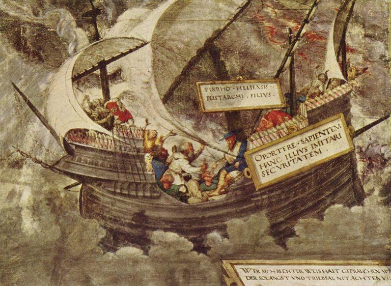 Философ Пиррон в бушующем море. Анекдот Секста Эмпирика. XVI в.