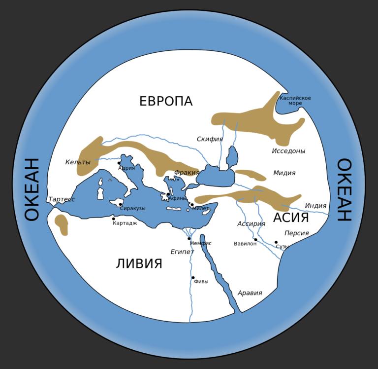 География мира по Гекатею. VI в. до н. э.
