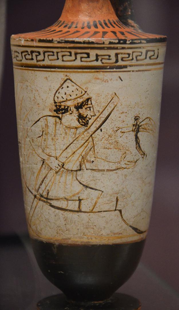 Харон, перевозящий души умерших в Аид.  Ок. 500-450 гг. до н.э.