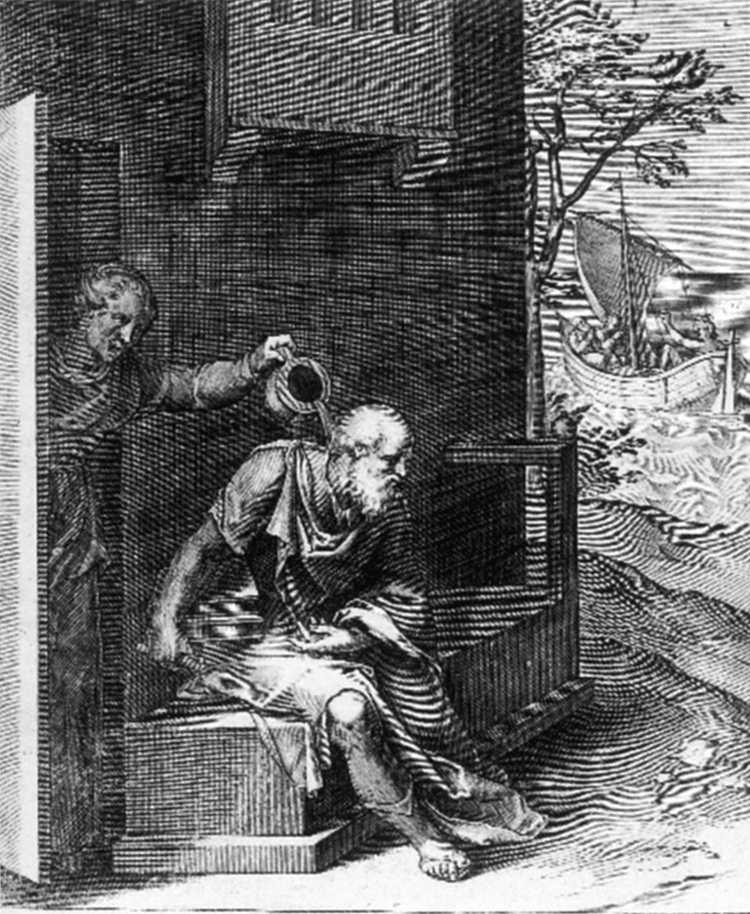 Ксантиппа обливает Сократа. 1607