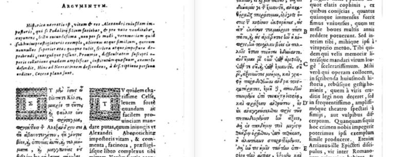 Лукиан Самосатский. Двуязычное издание 1619 г.