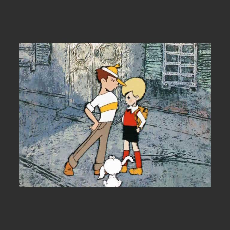 Малыш и Карлсон. Кадр из мультфильма. 1968 г.