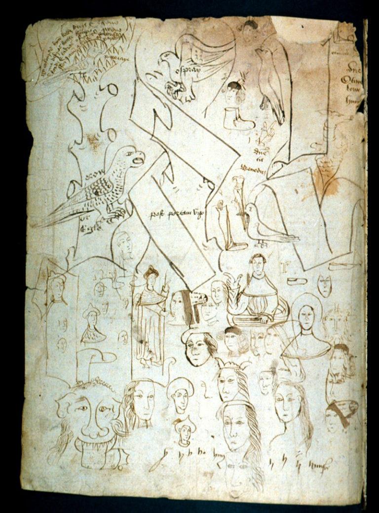 Надписи и рисунки, испытание письменных принадлежностей переписчиками. XV в.