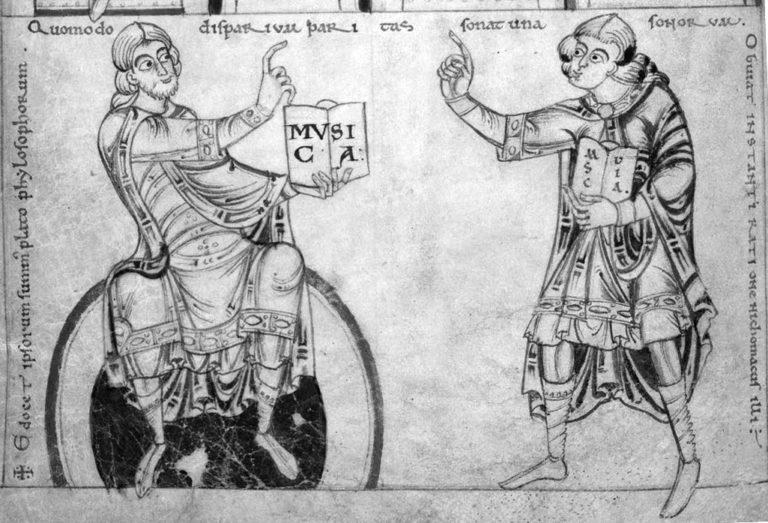Никомах (справа) и Платон. XII в. Библиотека Кембриджского университета