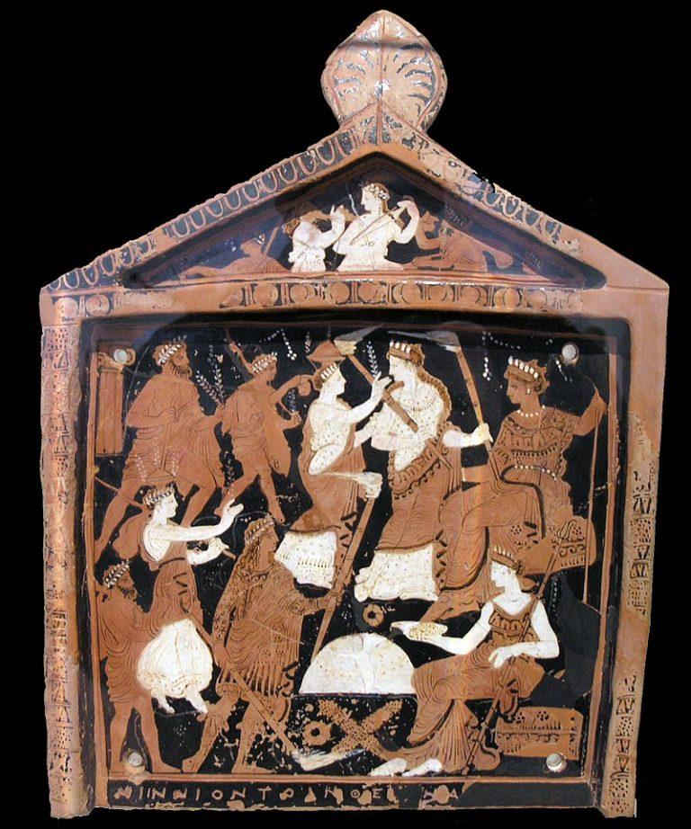 Нинийская дощечка, на которой изображены Элевсинские мистерии. Ок. 370 г. до н.э.