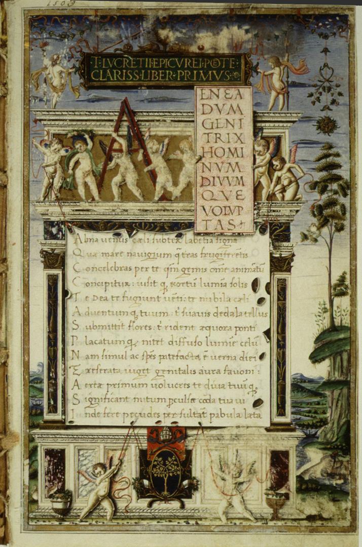 Первая страница поэмы «О природе вещей» Тита Лукреция Кара. Италия, 1483 г.