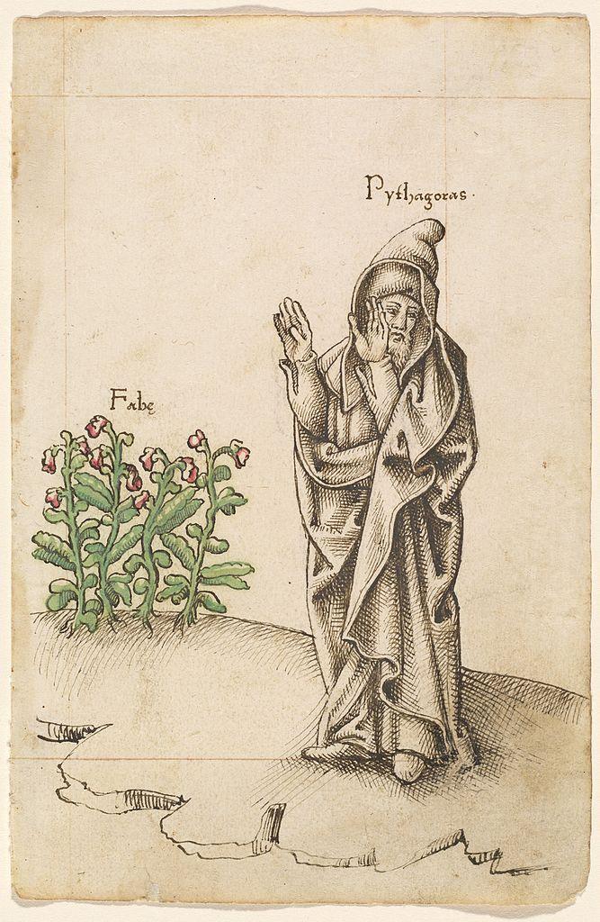 Пифагор и бобы («Воздерживайся от бобов»). XVI в.