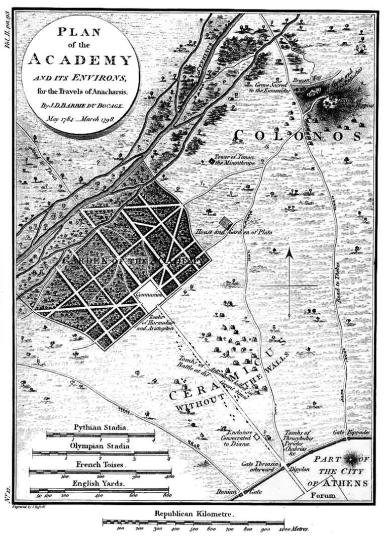 План античной Академии около Афин. 1798 г.