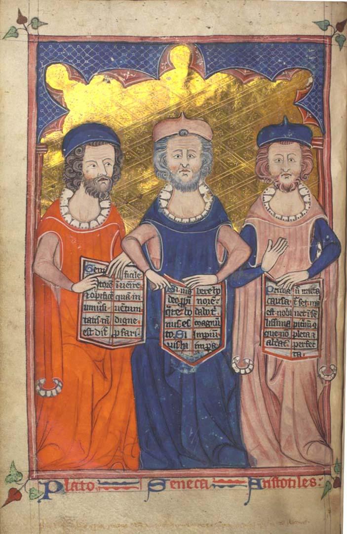 Платон, Сенека и Аристотель. Около 1325-1335 гг.