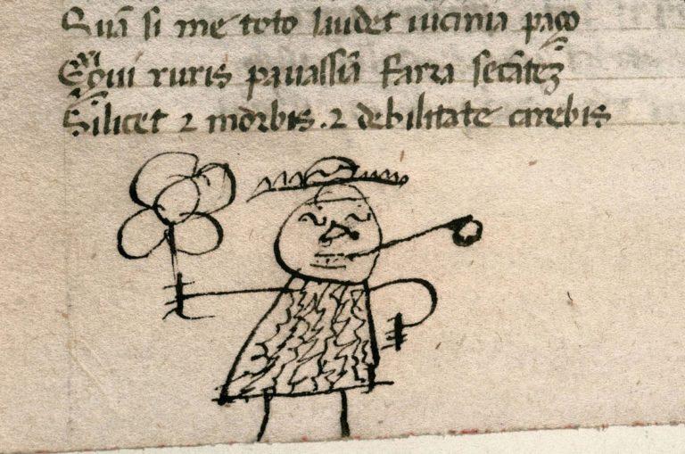 Рисунок школьника на полях книги. XV в.