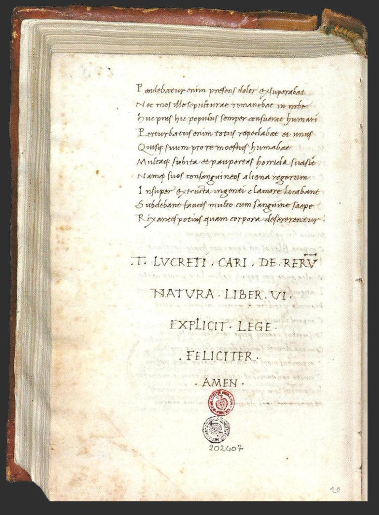 Рукопись поэмы «О природе вещей» Лукреция, каллиграфически переписанная Н. Никколи в 1417 г.