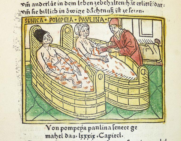 Самоубийство Сенеки и его жены Паулины. Ок. 1474