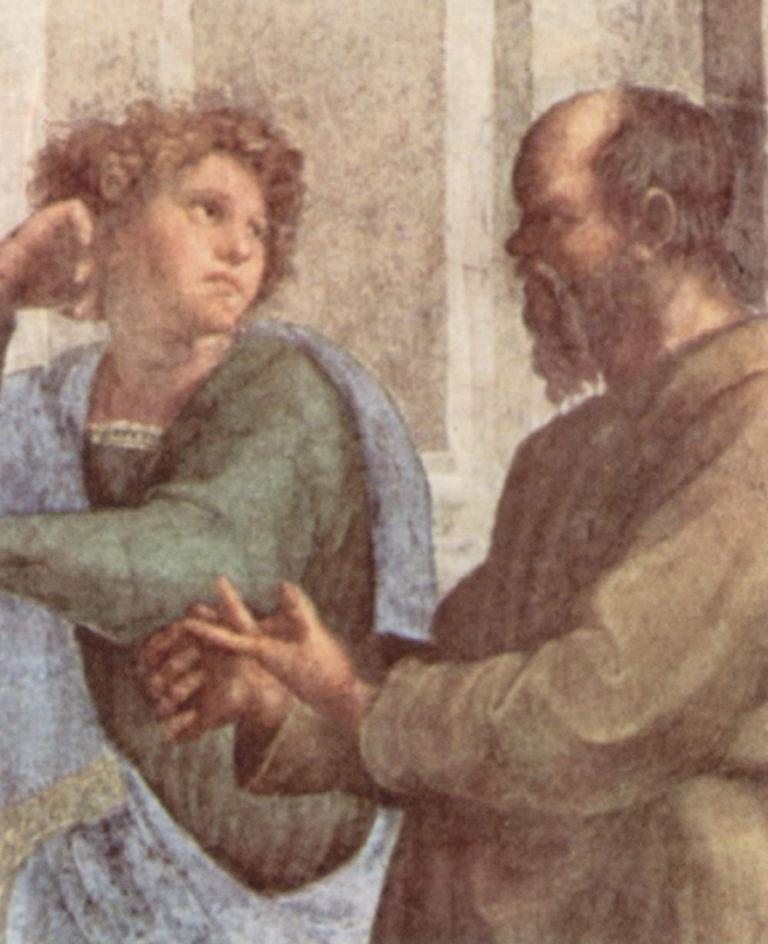 Сократ и молодой Эсхин, деталь фрески «Афинская школа». 1509-1510