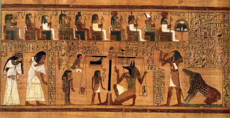 Тот (Тевт) готовится записать вердикт (второй справа, с головой ибиса). Ок. 1300 г. до н.э.