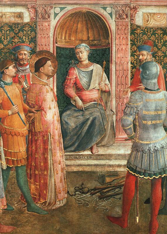 Юний Рустик председательствует на суде над Иустином Философом. Ок. 1447-1450