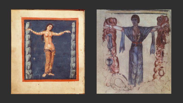 Слева: Андромеда. Нач. IX в. «Лейденская Аратея». Библиотека Лейденского университета. Справа: Андромеда. Компендиум из аббатства Флёри. Национальная библиотека Франции, Париж