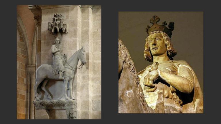 Слева: «Бамбергский всадник». Ок. 1225. Опора хора собора в Бамберге. Справа: «Магдебургский всадник». После 1230. Культурно-исторический музей Магдебурга