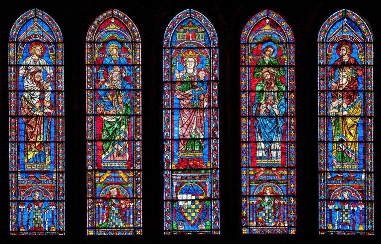 Богоматерь с Младенцем, Евангелисты на плечах пророков и донаторы. 1221–1230