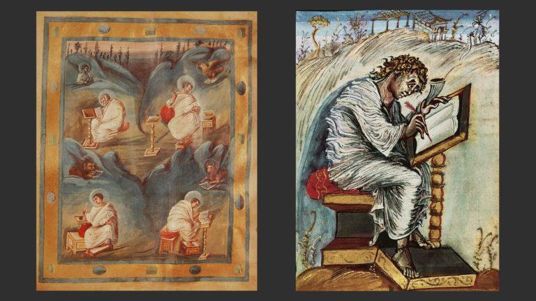 Слева: Четыре евангелиста. Ахенское коронационное Евангелие, ок. 800 г. Хофбургский замок, Вена. Справа: Евангелист Матфей. Евангелие Эббона, ок. 800 г. Городская библиотека Эперне