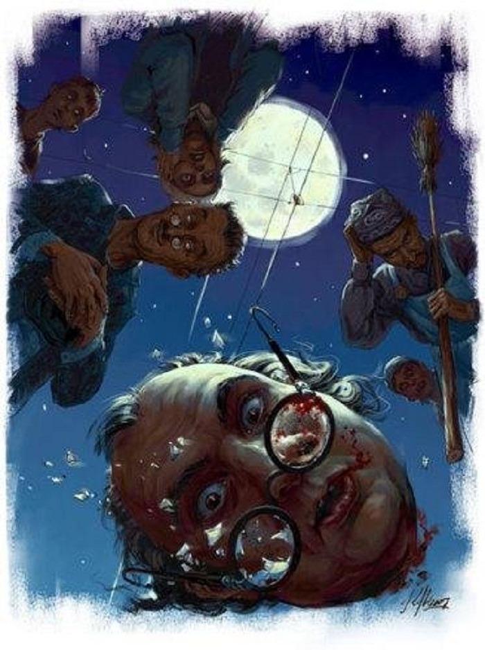 Довольный Коровьев взирает на удивленную голову Берлиоза. Иллюстрация к роману «Мастер и Маргарита»