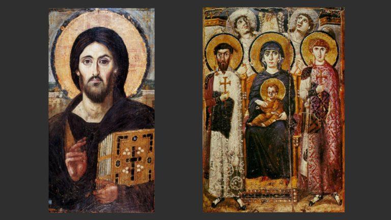 Слева: Древнейшая икона Христа Вседержителя. Справа: Мария со святыми и ангелами. VI в.