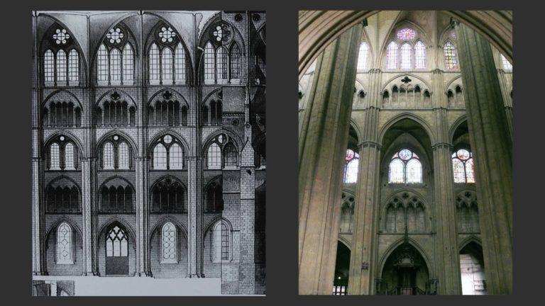 Элевация и вид на центральный неф собора Сент-Этьен. XIII в.