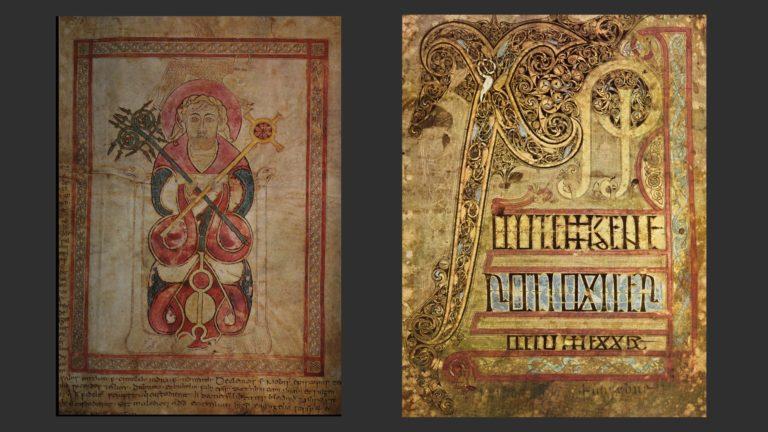 Евангелия св. Чеда, епископа Личфилдского. Евангелист Лука (слева), монограмма «Хи-Ро» (справа). Англия или Ирландия, 1-я пол. VIII в.