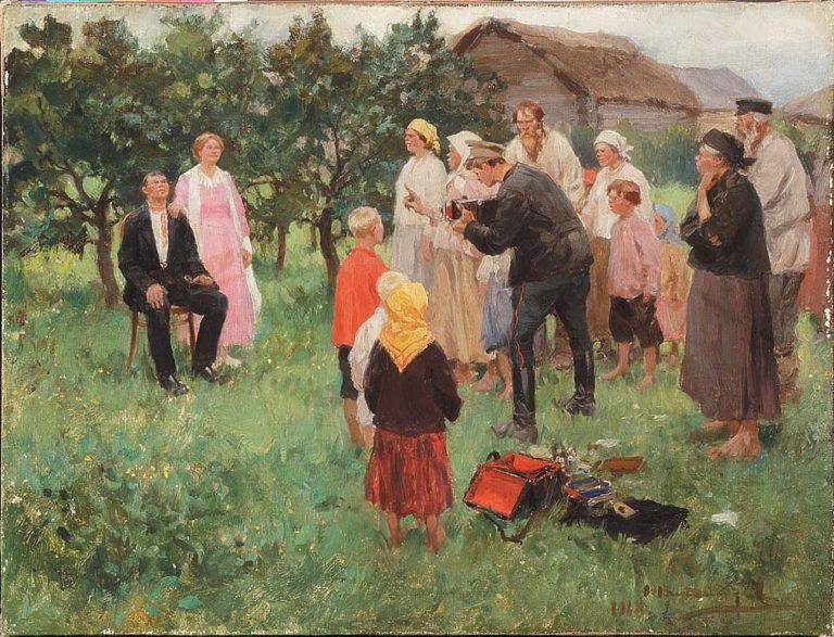 Фотограф в деревне. 1918