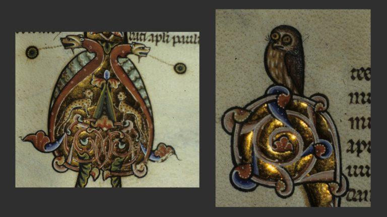 Фрагменты орнаментальных инициалов. Ок. 1260