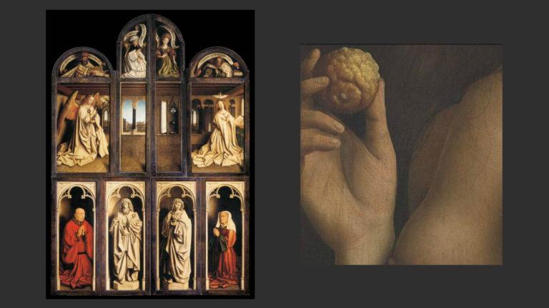 Слева: «Гентский алтарь» в закрытом состоянии. Справа: Лимон в руке Евы. Деталь. 1430–1432
