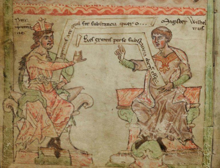 Гильом Коншский (справа) и Готфрид Плантагенет. Нач. XIII в.