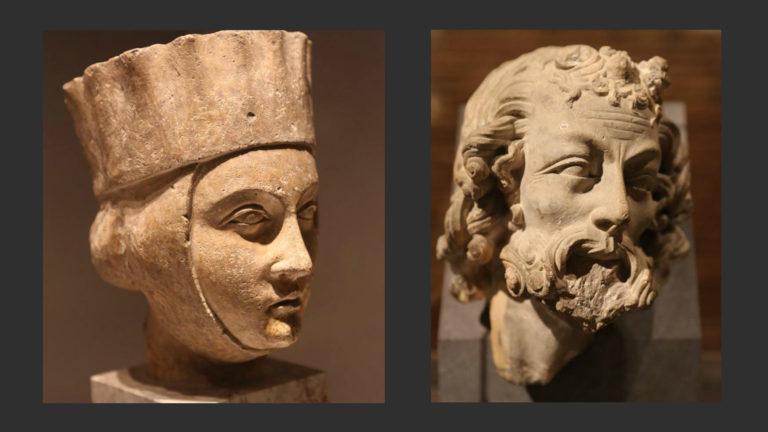 Слева: Голова девы неразумной. 1230-е. Справа: Голова пророка из Реймса. 1260-е
