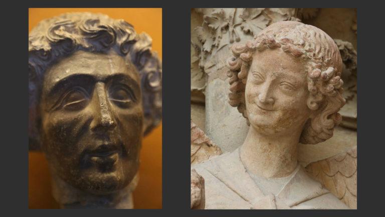 Слева: Голова дьякона (?). Ок. 1240. Дворец То, Реймс. Справа: Ангел из сцены «Благовещения». I пол. XIII в. Западный портал собора в Реймсе