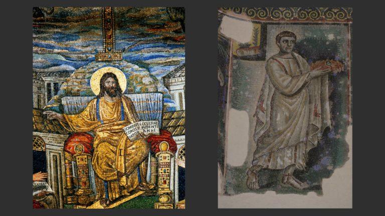 Слева: Христос на троне. Ок. 400. Мозаика. Базилика Санта Пуденциана, Рим. Справа: Мученик. V в. Мозаика. Баптистерий Сан Джованни ин Фонте, Неаполь