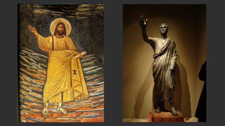 Слева: Христос. Ок. 530. Фреска. Базилика Косьмы и Дамиана, Рим. Справа: Авл Метелл. Ок. 100 г. до н.э. Национальный археологический музей, Флоренция