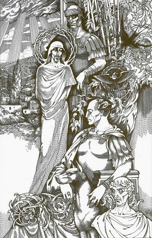 Иешуа и Понтий Пилат. Иллюстрация к роману «Мастер и Маргарита». 1996
