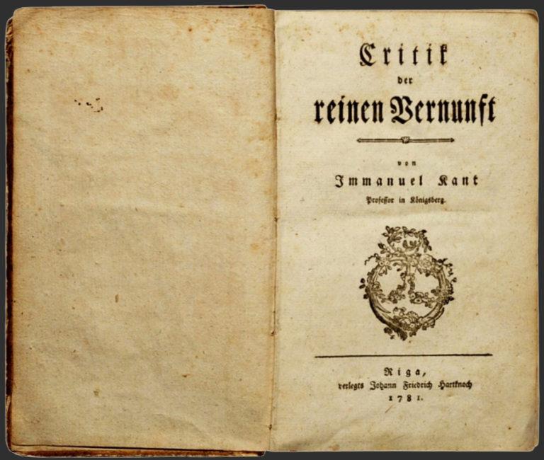 Иммануил Кант. Критика чистого разума. Рига, 1781
