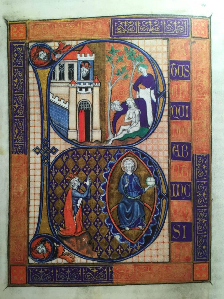 Инициал первого псалма «Блажен муж». Ок. 1260