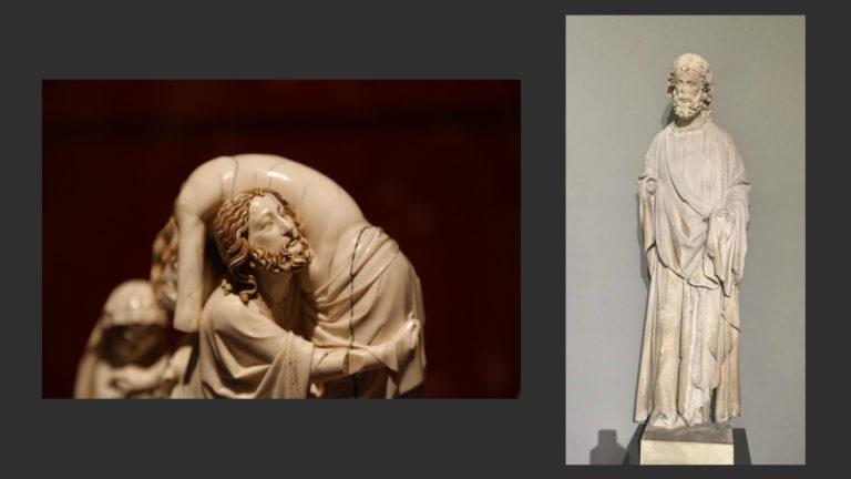 Слева: Иосиф Аримафейский. 1260-е. Фрагмент «Снятия с креста». Лувр, Париж. Справа: «Меланхолический Апостол» из Сент-Шапель. 1240-е. Музей Клюни, Париж