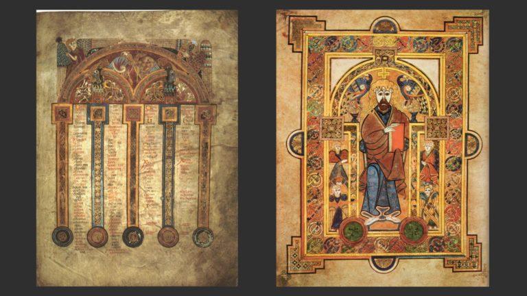 Слева: Канонические таблицы Евсевия. Справа: Христос на престоле (справа). Книга из Келлса, Ирландия, ок. 800 г.