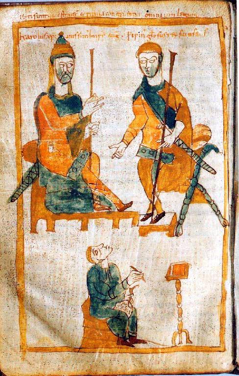 Карл Великий (слева) и его старший сын Пипин Горбатый. Копия X в. с оригинала 830 г.